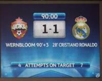 Футбол ничья табло ЦСКА Реал Мадрид