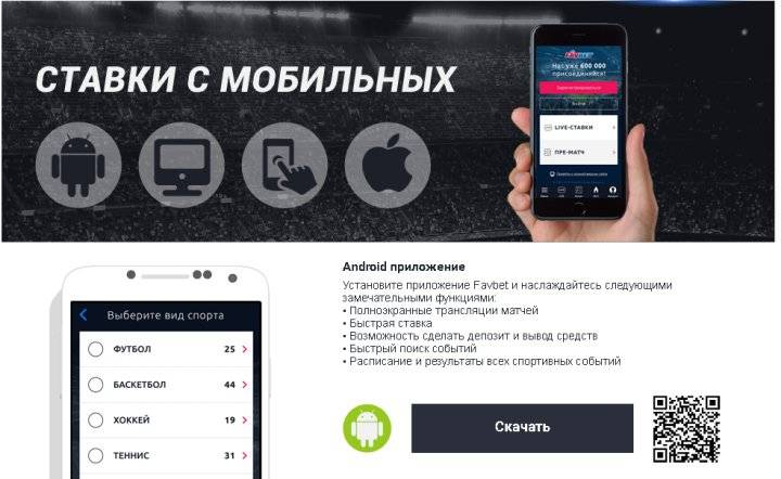 мобильная версия букмекерской конторы Фаворит