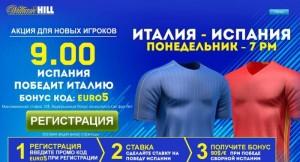 Повышенный коэффициент на матч Испания – Италия 27 июня 2016