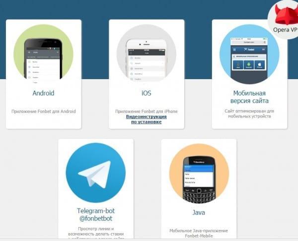 Мобильные приложения офшорного Fonbet
