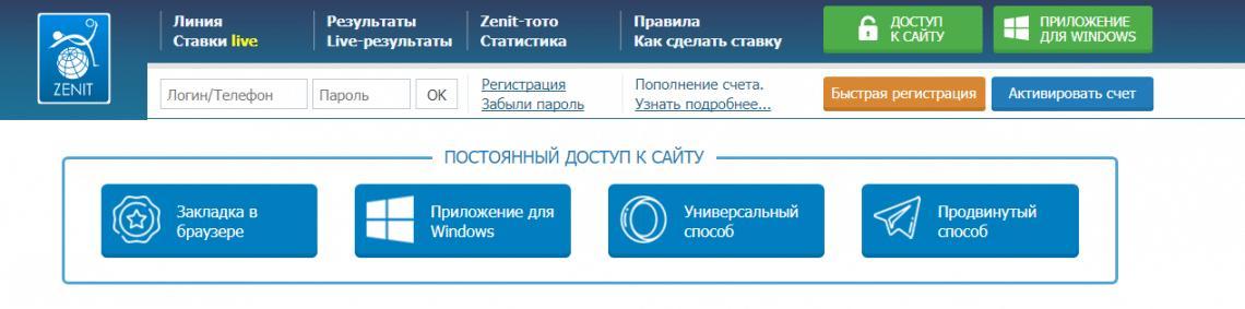 Официальный сайт БК Зенит