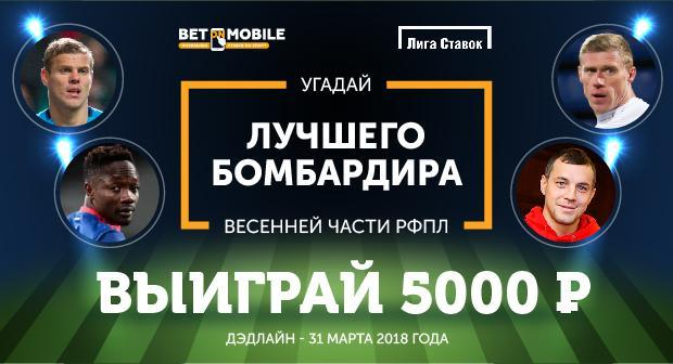Угадай лучшего бомбардира весенней части РФПЛ и выиграй 5000 рублей