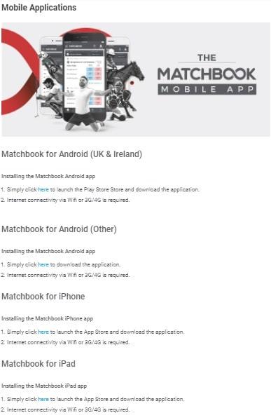 Matchbook мобильные приложения