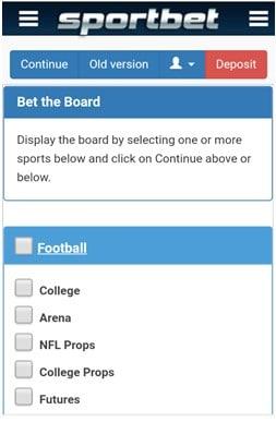 Sportbet мобильная версия