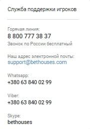 Бетхаус.com служба поддержки