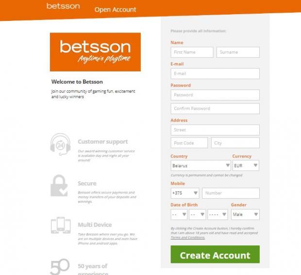 Бетссон регистрация
