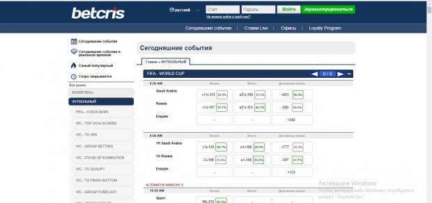 BetCRIS.com линия и коэффициенты