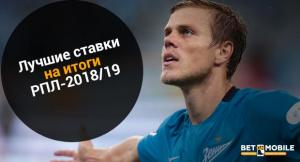 Лучшие ставки на итоги РПЛ-2018/19