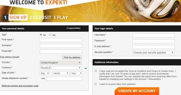 экспект регистрация
