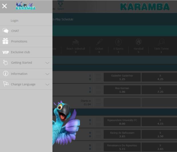 Karamba меню