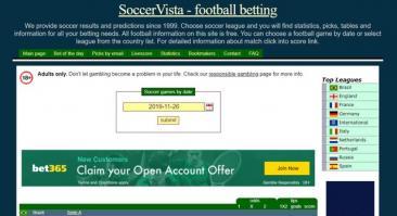 Soccervista: машинные прогнозы