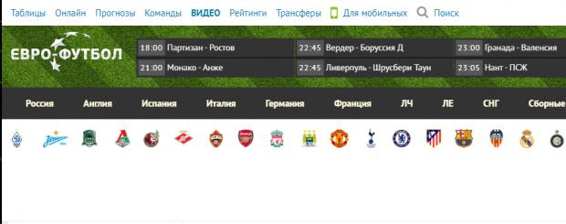 евро-футбол сайт